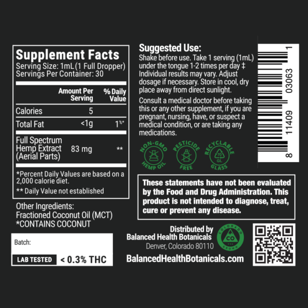 cbdistillery-2500-full-spectrum-oil-supplement-facts