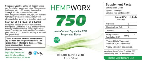 HempWorx 750 THC FREE ZERO THC